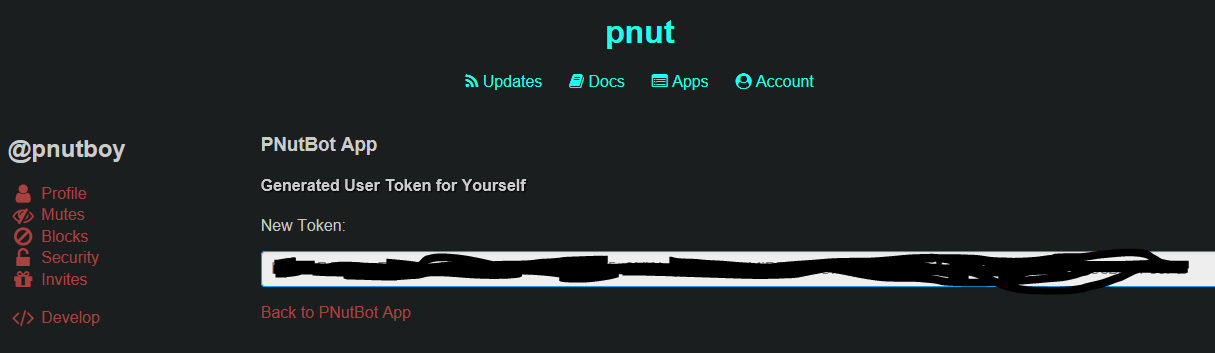Pnut Authorize Token