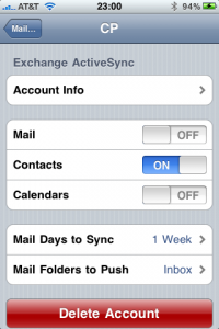 ActiveSync Settings iPhone